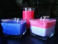 two blue and pink large handmade scented candles Virginia Beach, 23457