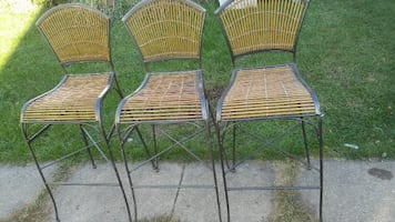 High Back Wrought Iron Bar Stools Set of 3 - Used in Good Shape