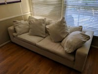 White fabric deep big pillow couch Culver City, 90230