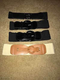 Four black, brown and beige leather belts Maitland, 32751