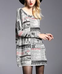 Gray & Red Newsprint Ribbed-Sleeve Boatneck Dress - Women Calgary