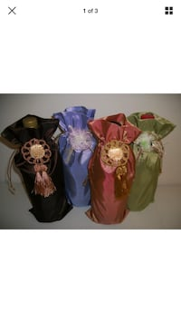 Fabric Wine Bottle Sack Gift Bag Set of 4