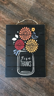 black wooden Give Thanks print wall decor