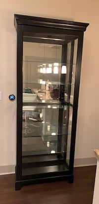 black wooden framed glass display cabinet 16 mi