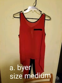 women's red sleeveless top with text overlay Summerton, 29148