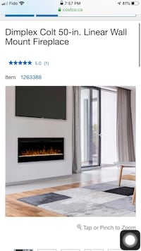 "50"" Wall mount fireplace"