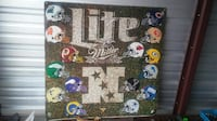 2 Sided Miller Light Football metal sign from probaly early 70's De Soto