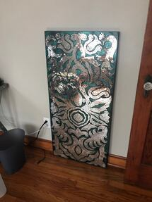 Mirrored teal large wall decor