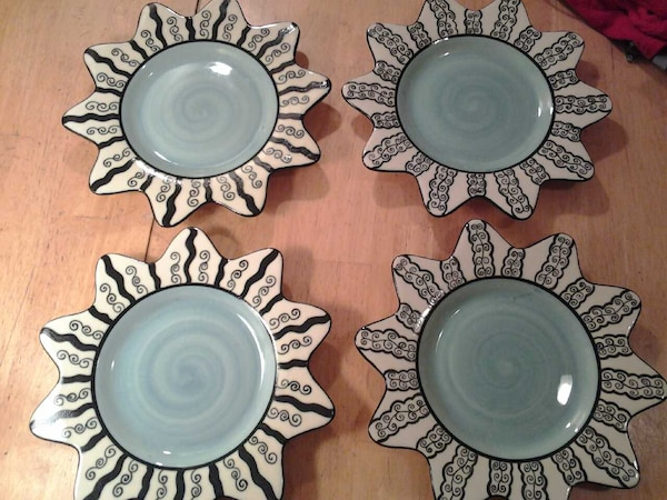 1852e860b92 Used 4 Chaleur sun shaped salad plates blue green for sale in ...