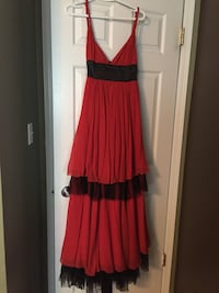 red and black v-neck sleeveless pleated maxi dress