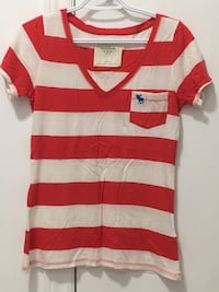 Abercrombie & Fitch Striped Hot Pink T-Shirt Size Small Women's Female Richmond Hill, L4C 9M2