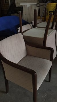 brown wooden framed white padded armchair Mississauga, L5S 1B1