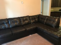 Black leather sectional sofa with throw pillows Hampton, 23666
