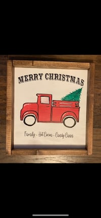 New Wood Sign Christmas Red Truck 2359 mi