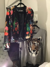 Size Small Floral Jacket and BCBG Tiger Sweater. Both for $20 Vancouver, V6Z 3A3