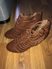 pair of brown leather open toe ankle strap heels Reston, 20190