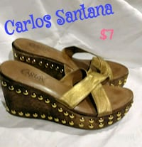pair of brown leather open-toe wedges Wolfforth, 79382