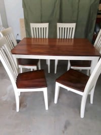 rectangular brown and white wooden dining table with chairs set Houston, 77002