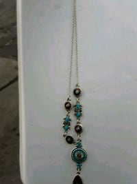 silver-colored and blue gemstone pendant necklace 2278 mi