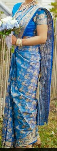 Blue Silk Saree with Blouse with Silver-Gold Work Vancouver, V5V 4G3