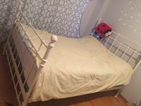 white metal bed frame