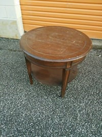 Round Two-Tier Wood Side Table or Accent Table 527 km