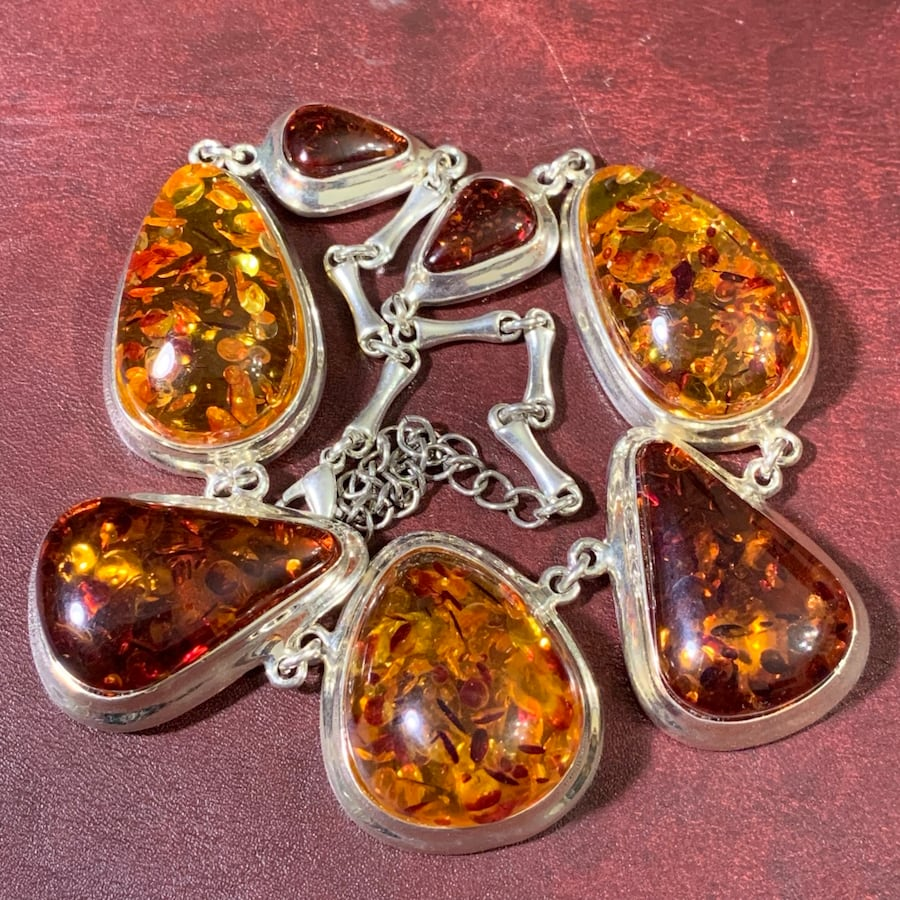 Vintage Sterling SIlver Amber Necklace 5