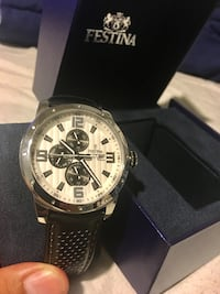 round silver-colored chronograph watch with black leather band Los Angeles, 90063
