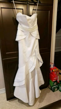 White Strapless Evening Gown