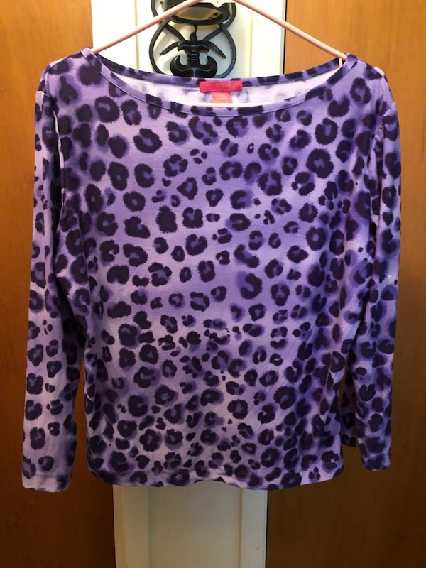 6b184bfa322 Cute purple leopard print blouse. Soft stretchy material. Size XL but fits  more like L. Great condition. Also have a pink one like this.