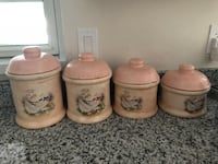 beige-and-gray ceramic printed 4-piece canister with lid set Longwood, 32750