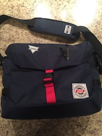 navy blue and red messenger bag