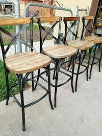 "4 Brand New Rustic Metal and wood Barstools 30""H  Moreno Valley, 92551"
