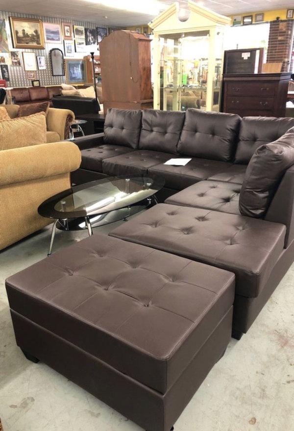 Espresso Reversible Sectional Sofa Cup Holder and Storage Ottoman