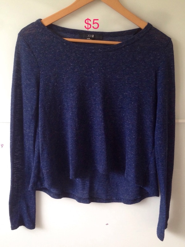 blue scoop-neck sweater