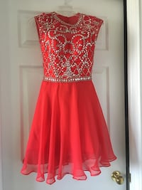 women's red and silver sleeveless dress