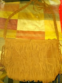 Womens Brown Fringed Purse