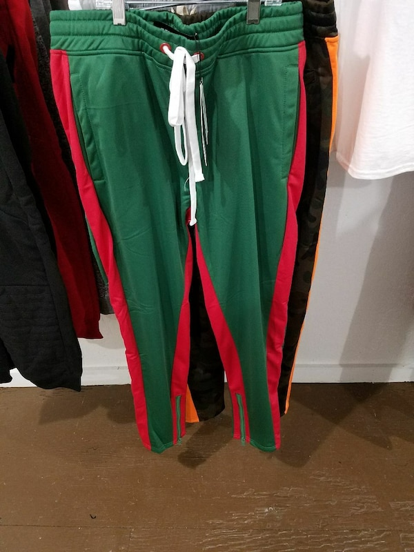 Men Green & Red Stripe Track Pants