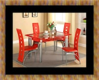 Glass red dining table set with leather chairs Woodbridge, 22191