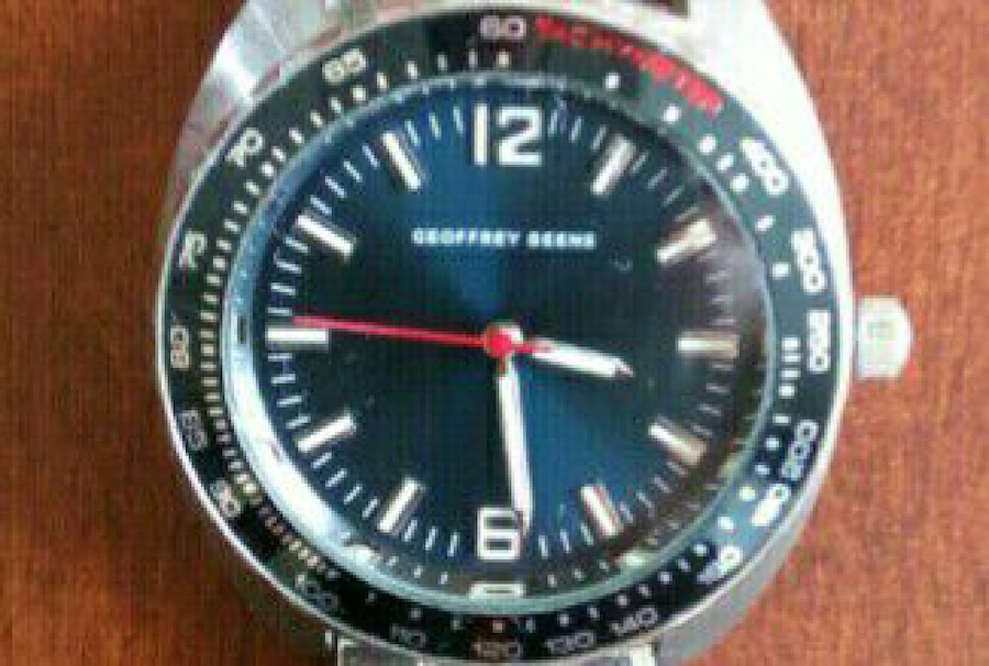 Geoffrey Beene, blue dial & leather band