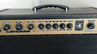 black and brown guitar amplifier