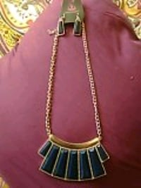 Navy Blue and Gold Necklace and earring set