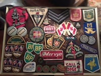 Vintage war badges etc and old antique Cans Kitchener