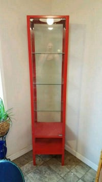 red wooden framed glass display cabinet Blaine, 98230