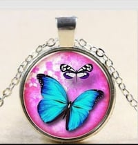 blue and white butterflies pendant necklace