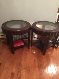 two round-glass top with wooden base Mississauga, L5W 1X2