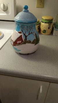 white, blue, and brown ceramic jar with lid Laval, H7W 2P2