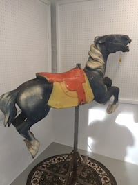 Early 1900s CAROUSEL HORSE - Alan Herschell - Wood - Park Paint, black Sarnia