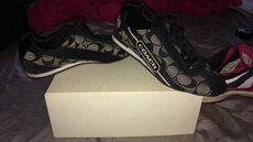 white-and-black monogram Coach athletic shoes with box