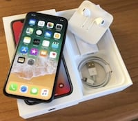 Space gray iphone x with 5w usb power adapter, lightning to usb cable, earpods, and box Toronto, M9R